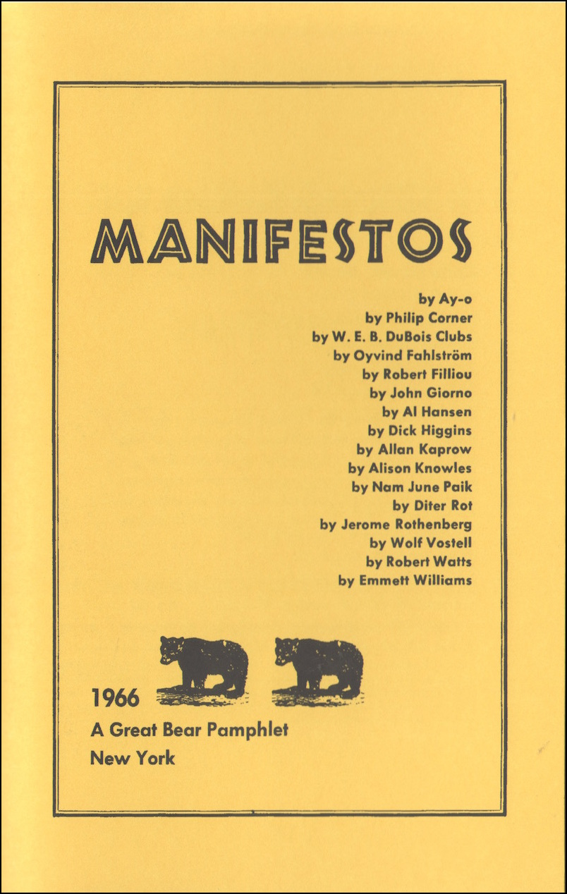 MANIFESTOS - A GREAT BEAR PAMPHLET
